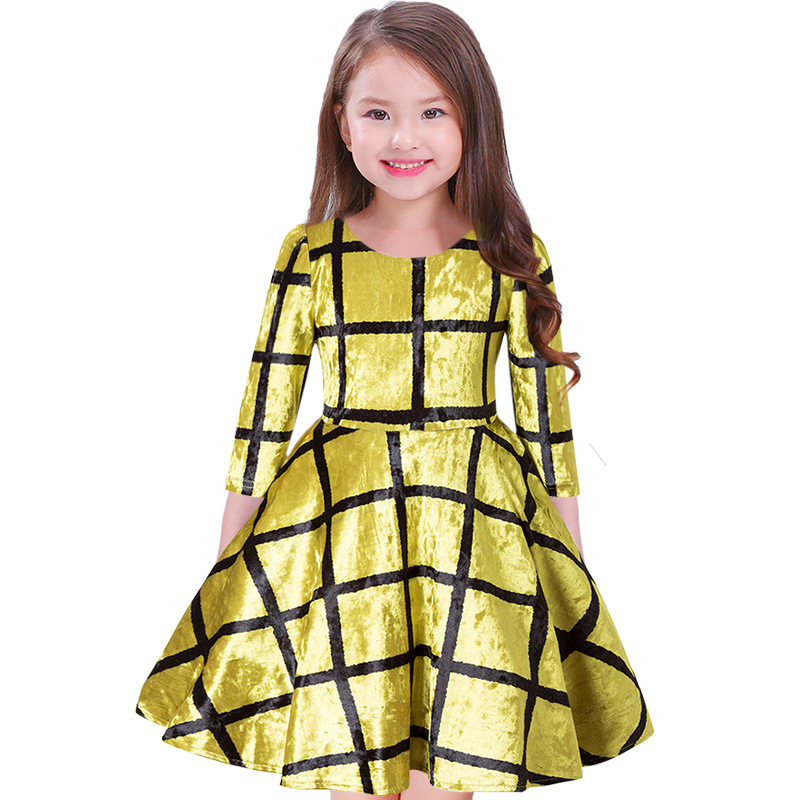 2018 New Design Baby Girls Spring Autumn Dress Half Sleeve Pleuche Dress Kids School Princess Plaid Party Dresses For Girls uoipae party dress girls 2018 autumn