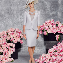 2017 Elegant O Neck Knee Length Mother of the bride dresses Half Sleeve With Jacket Appliques