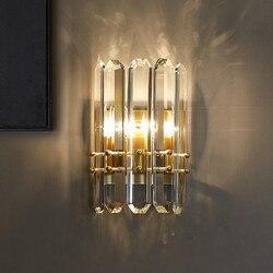 Luksusowe lampy kryształowe ściany lampa ozdobna do salonu sypialnia łazienka światła Hotel schody złota aplikacja pared w Wewnętrzne kinkiety LED od Lampy i oświetlenie na