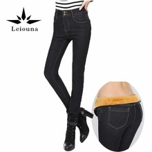 Leiouna 2017 New Warm With High Waist Stretching Tight Black Female Winter Velvet Pencils Skinny Ripped Jeans For Women Pants