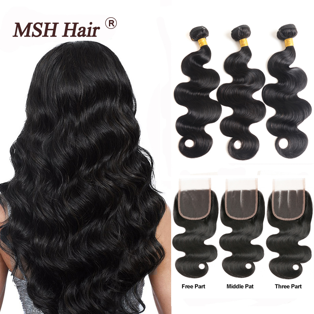MSH Human-Hair-Weave-Bundles Closure Lace Body-Wave Brazilian with 4--4 130%Density Non-Remy