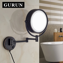 GURUN 8 Inch 10X magnifying bathroom LED mirrors makeup Shave Wall Mounted Extend Round Doublr Side cosmetic mirror M1809DORB