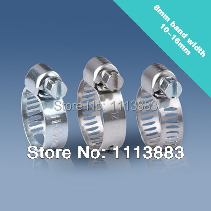 10 16mm stainless steel American type hose tube pipe 8mm band clamps