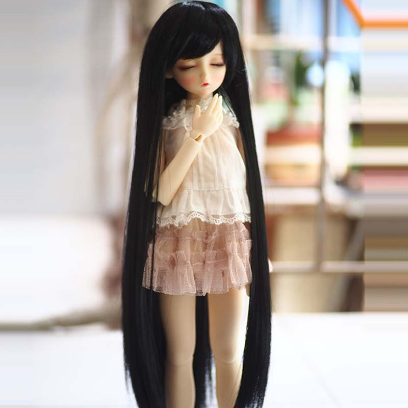 Fashion Style 1/3 1/4 1/6 Bjd SD Doll Wig High Temperature Wire Long Straight Black Colors BJD Super Wig For Doll Hair коляска inglesina 3 в 1 otutto deluxe на шасси bike slate aa25g6mar ae15g6100