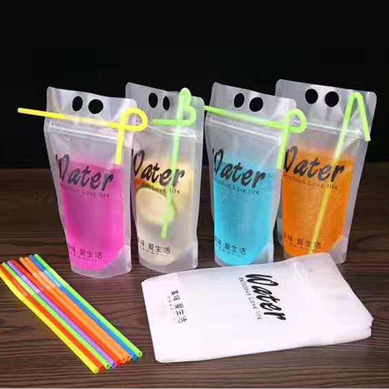 100pcs Matte transparent ziplock plastic bags 500ml juice water drink packages ktichen storage organizer clear pouch with handle