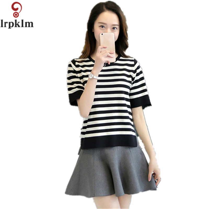 Women Summer Style Short Front Back Long O-Neck Knitted Pullovers Short Sleeve Striped Design Jumper Knitwear Thin Sweaters 958