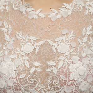 Image 5 - MZ 0061 100% Real photo O neck Long Sleeve Button Appliques Lace Wedding Dress