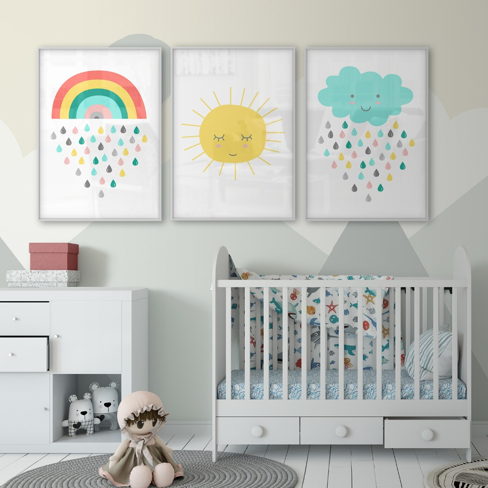 Us 2 75 50 Off Nursery Decor Gender Neutral Wall Art Sunshine Poster Cloud Rain Canvas Print Rainbow Children S Baby Room In