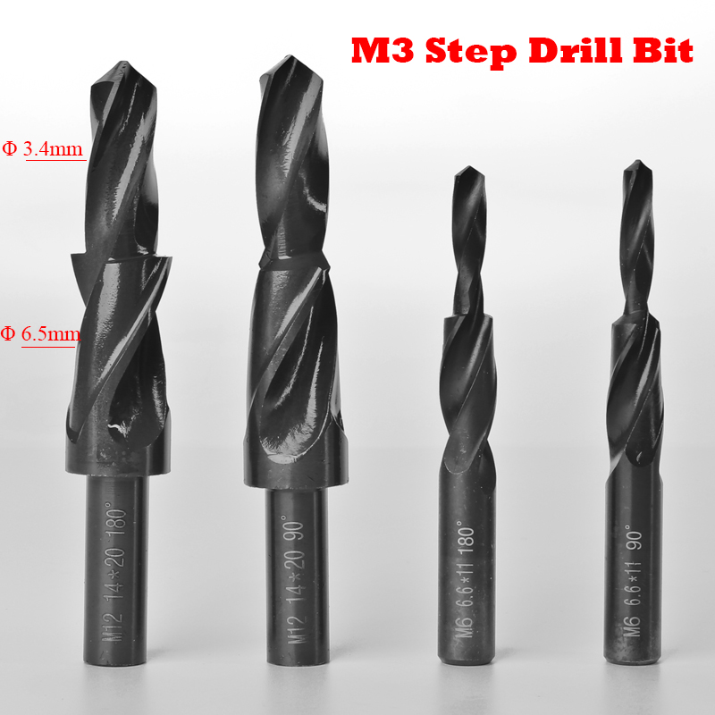 M3 3.4mm 6.5mm 3.4-6.5mm Diameter 90 180 Degree High Speed Steel HSS Small Straight Shank Two Subland Step Core Twist Drill Bit free shipping of 1pc hss 6542 made cnc full grinded hss taper shank twist drill bit 11 175mm for steel