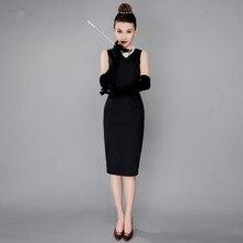 Платье Одри Хепберн ретро маленькое черное платье с v-образным вырезом на спине женское облегающее платье-карандаш винтажное
