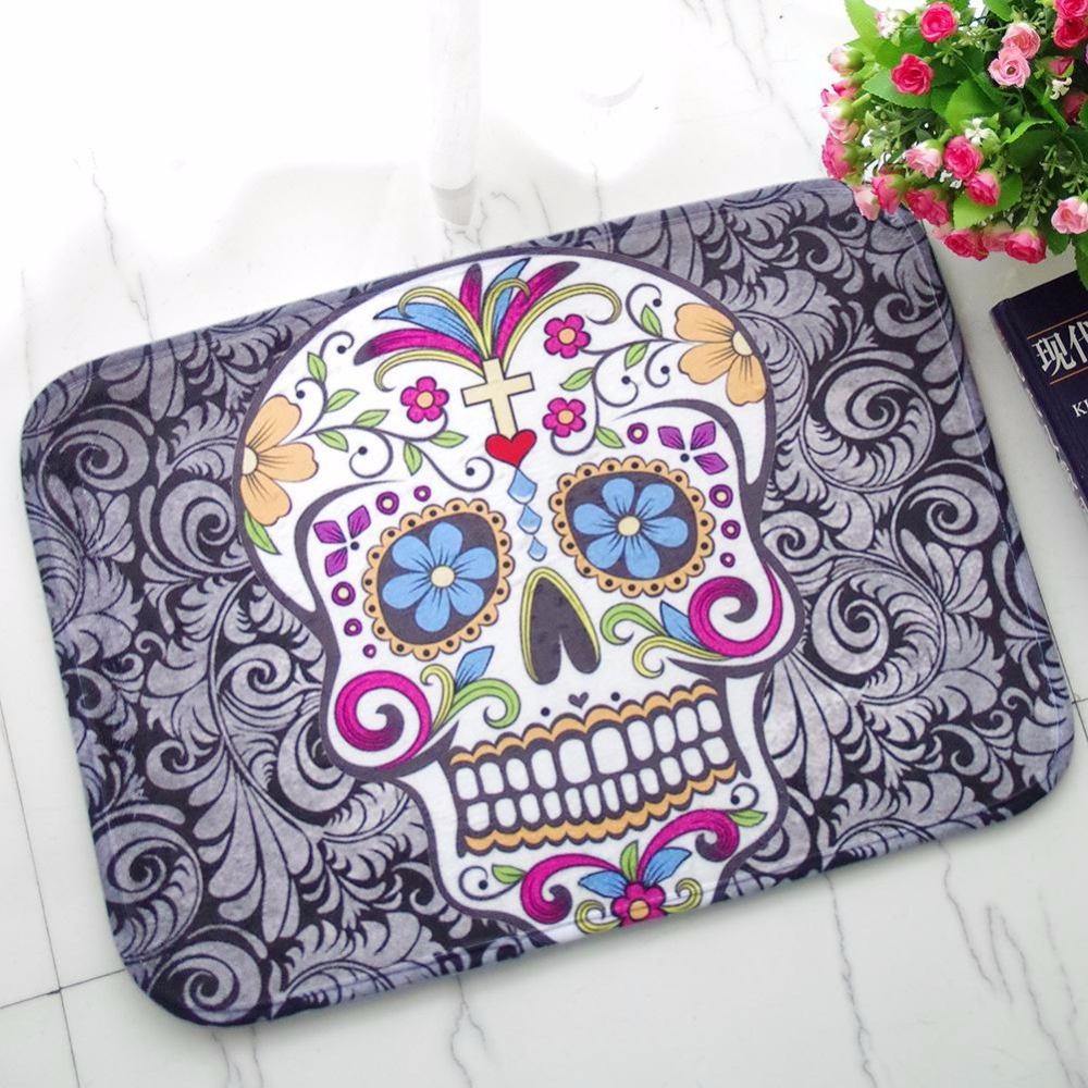 Funny bathroom rugs - Funny Skull Door Mat Rubber Bath Floor Rug Non Slip Bathroom Outdoor Home Doormat Carpet