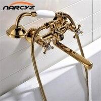 Ванна Смесители Латунь роскошный золотой Ванная комната душа Установить дождь Doule душем Системы настенного смесителя XT357
