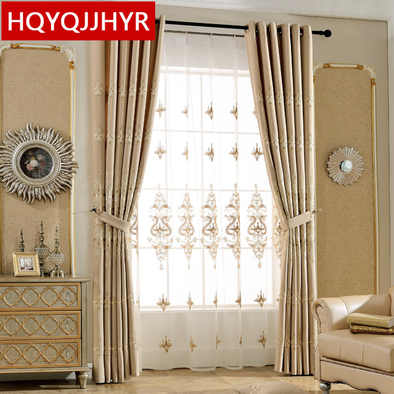 Detail Feedback Questions About European Style Luxury Embroidered Gold Rimmed Curtains For Living Room Sheer Kitchen Window Curtain Bedroom On