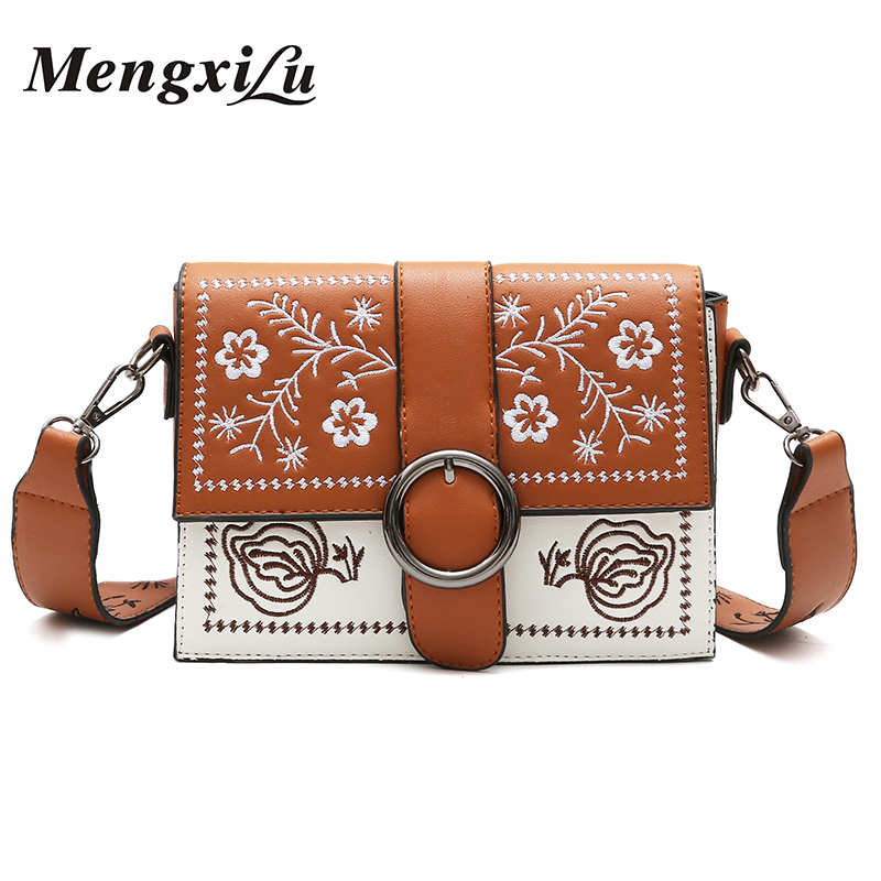 MENGXILU 2018 Spring Floral Embroidery Women Crossbody Bags High Quality PU Leather Women Handbags Small Women Message Bags