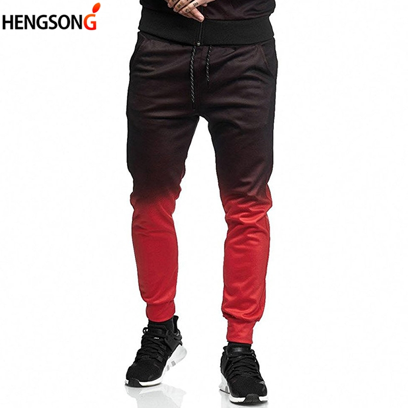 New Fashion 3D Color matching Pants Hot Autumn Men Trousers Casual joggers Pants Sweatpants Lace-up Trousers