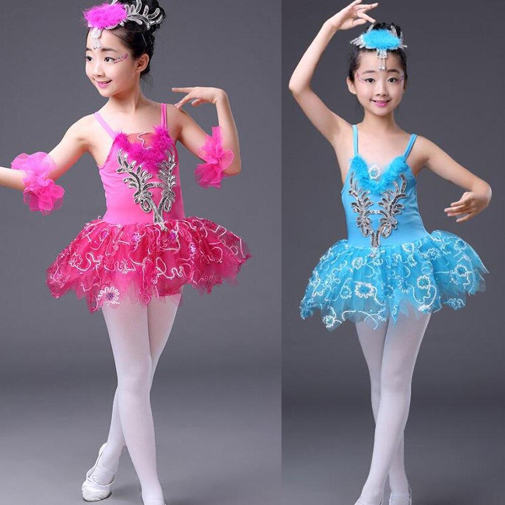 Розовое, голубое детское платье-пачка с блестками и белым лебедем, озеро, бальное платье для танцев, одежда для бальных танцев