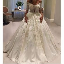 kejiadian satin wedding dress ball gown long sleeve v-neck