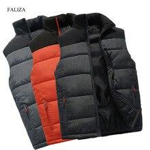 FALIZA New Mens Jackets Sleeveless Vest Winter Men's Warm Down Vest Homme Casual Thicken Waistcoat Chalecos Para Hombre 4XL MJ-M