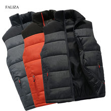 FALIZA New Mens Jackets Sleeveless Vest Winter Men's Warm Down Vest Homme Casual Thicken Waistcoat Chalecos Para Hombre 4XL MJ-M(China)