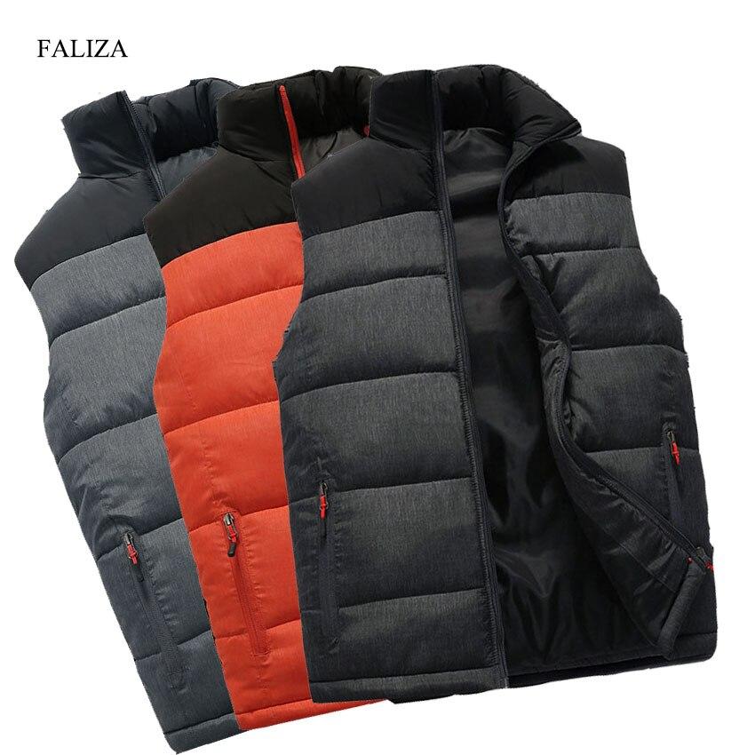FALIZA nouveau hommes vestes gilet sans manches hiver hommes chaud vers le bas gilet décontracté épaissir gilet Chalecos Para Hombre 4XL MJ-M