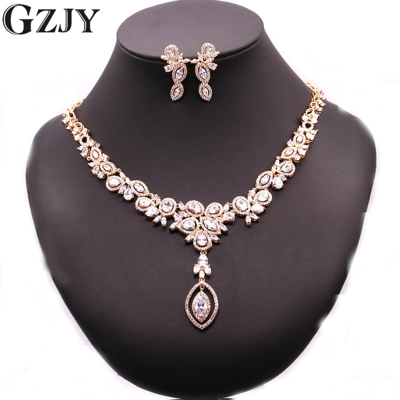 GZJY Luxury Bridal Jewelry Gold Color Multi-color AAA Zircon Necklace Earring Jewelry Set For Women Wedding Party 4colors