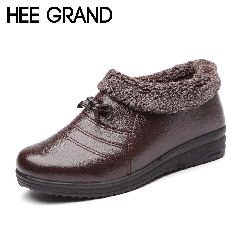 Hee Grand 2017 New Women Casual Mother shoes Waterproof Slip on Winter Warm Faux Fur Ankle Boots Fashion Flats shoes XWD6165 hee grand winter snow boots women mid calf boots warm casual shoes woman man made fur slip on platform women flats shoes xwx3969
