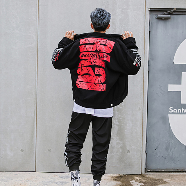 2018 Autumn Black letter Single Breasted Cotton Hip Hop Denim Jacket Men Epacket Suppliers China