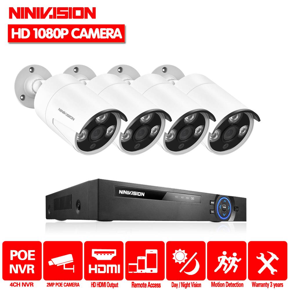 Home 4CH 48V NVR POE CCTV System Kit 2MP 1920*1080p Indoor Outdoor Bullet POE IP Camera Security Surveillance Set App Viewing image