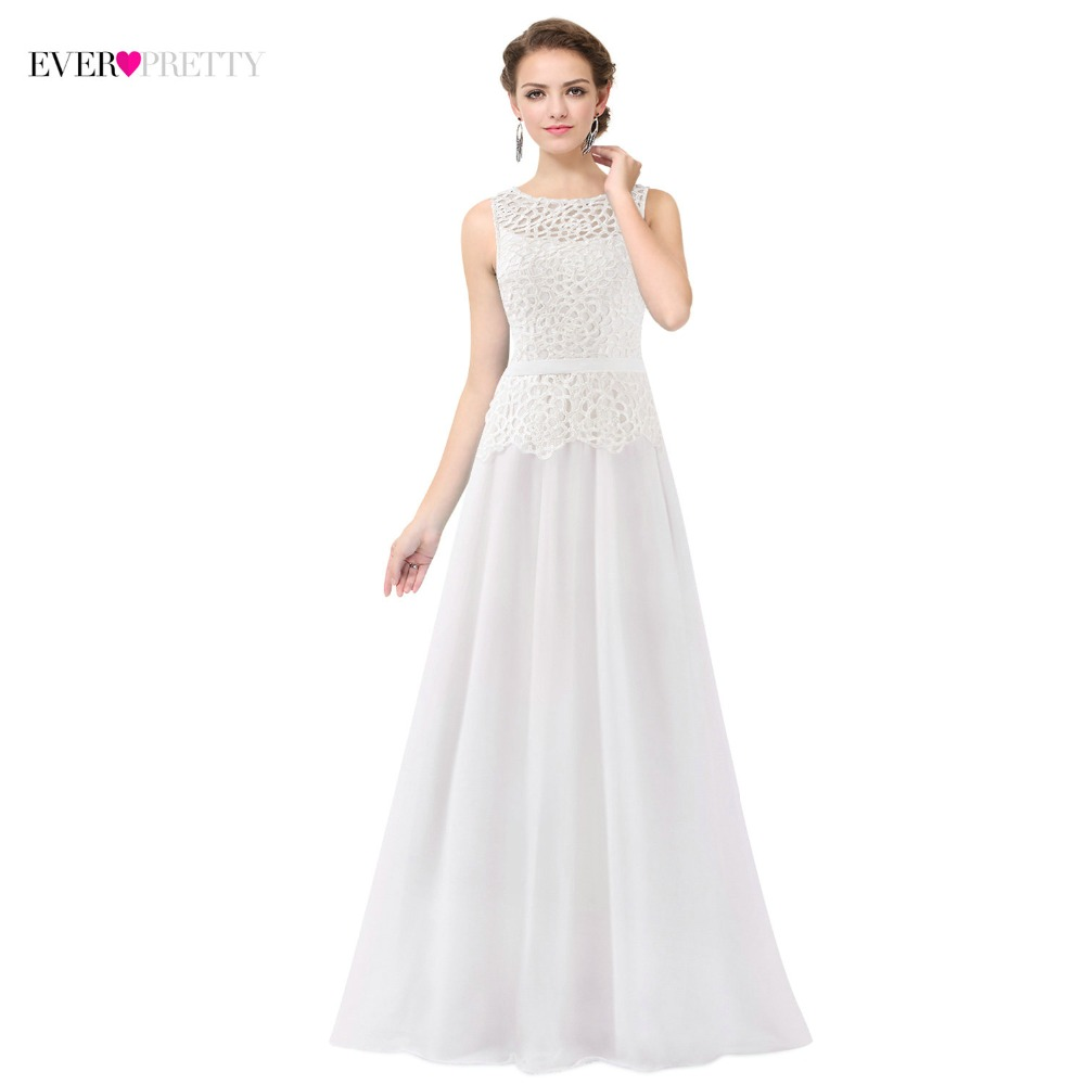 [Clearance Sale] Ever-Pretty White Long   Evening     Dresses   2018 Made in China Appliques Fast Shipping Prom Gowns Vestido De Festa