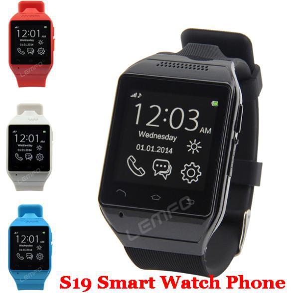 Smart font b Watch b font S19 Bluetooth SmartWatch Cell Phone 1 54 Touch Screen 2MP