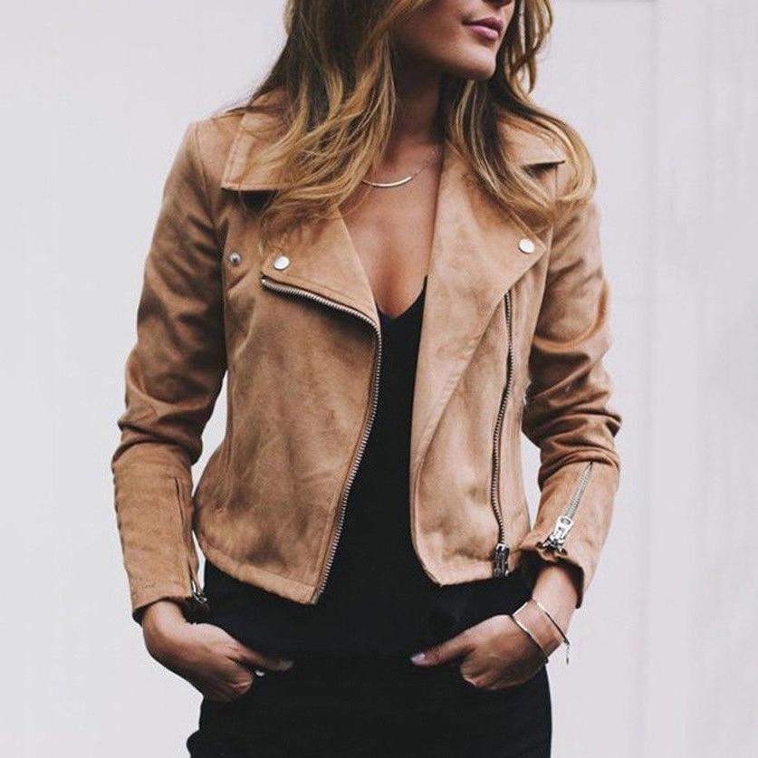 Mode Für Frauen Damen Leder Jacken Elegante Zip Up Biker Casual Mäntel Flug vintage chaquetas veste femme vogue Streetwear