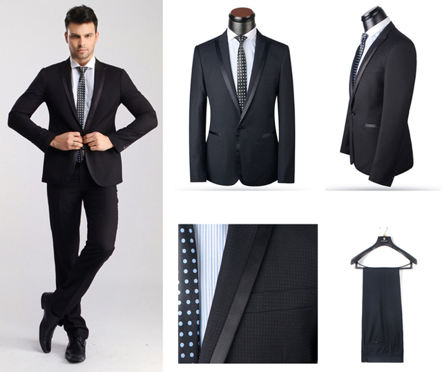 2015 men Black prom suits High Quality wedding suits for men ...
