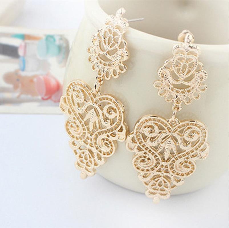 2018 New Fashion Fine Jewelry Bohemia Style Hollow Alloy Leaves Stud Earrings For Women Wild Hollow Stud Earrings wholesale