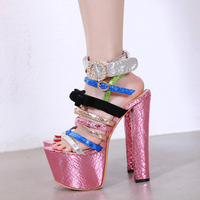 Women Shoes Sandals Ladies Cross Strappy Sandals7cm Platform High Heels17cm Summer Cosplay Sandal Heels Women Gladiator Sandals