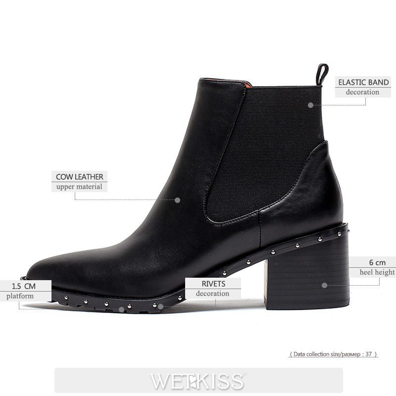WETKISS High Heels Women Chelsea Boots Zip Pointed Toe Footwear Rivet Female Ankle Boot Fashion Shoes Woman Winter 2020 Shoes