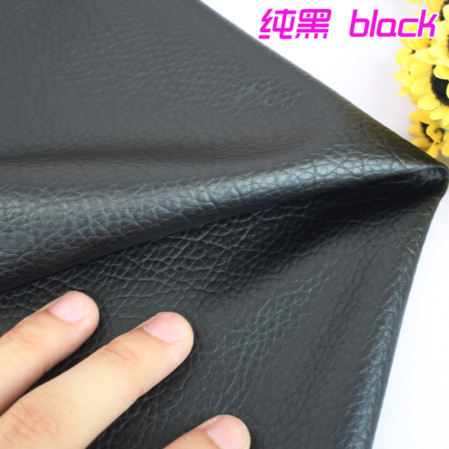 """Black Big Lychee Pattern PU Synthetic Leather Faux Leather Fabric Upholstery Car Interior Sofa Cover  54"""" Wide Per yard"""
