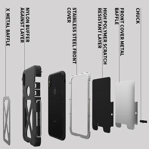 Image 2 - R JUST Paslanmaz Çelik Ağır Kapaklı Flip Kılıfları Apple iPhone X için Açık Dropproof Darbeye Dayanıklı Kapak