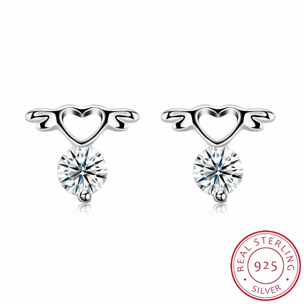 Энн и снег 100% натуральная 925 Серебро Fly Heart Серьги-гвоздики с четкими CZ стерлингового серебра Darling ювелирные Brincos