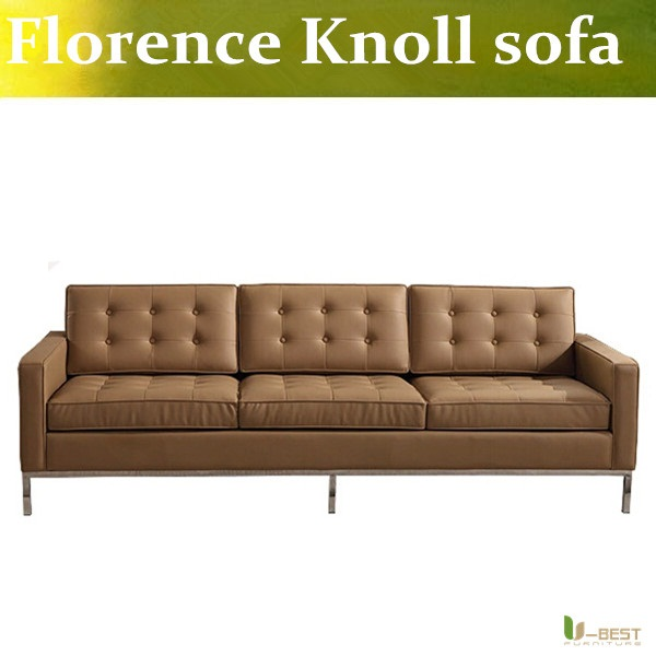 U-BEST 	Mid Century Modern Sofa Early Florence Knoll 3 seater couch,upholstered by top grain genuine leather u best design corner sofa inspired by florence knoll left angle imitation leather or real leather modern living room sofa