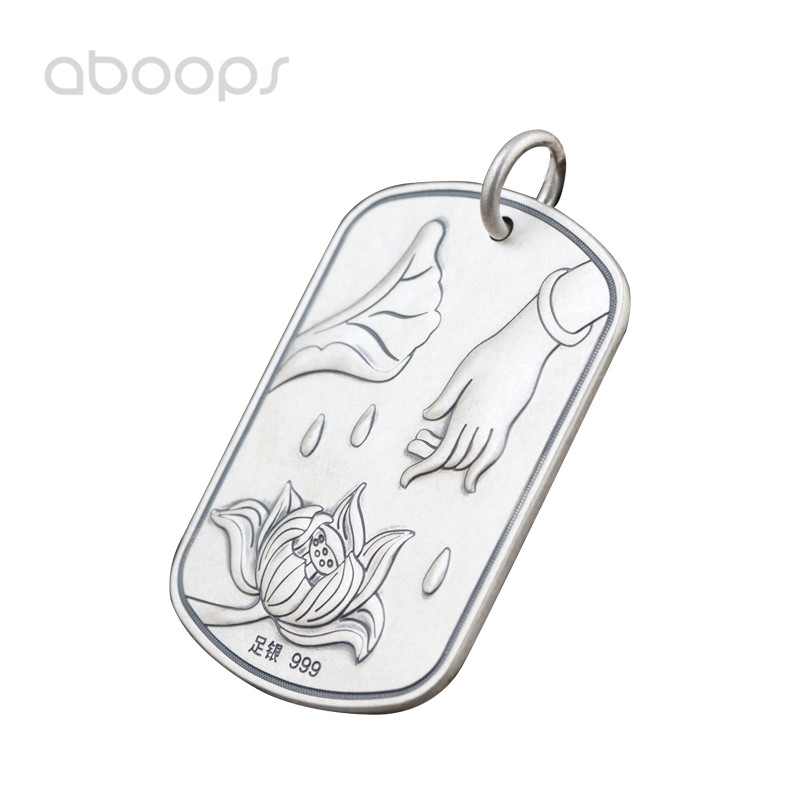цена на Vintage Solid 990 Sterling Silver Buddhism Heart Sutra Necklace Pendant for Men Women Free Shipping
