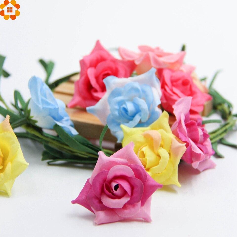 20 UNIDS Cabeza de Flor de la Alta Calidad de Seda Artificial Flores Color de Ro