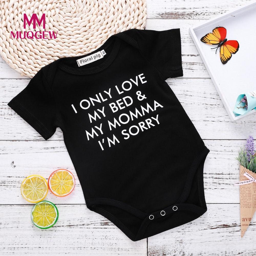 Toddler Infant Kids Baby Boys Girls Letter Print Outfits Clothes Romper Jumpsuit