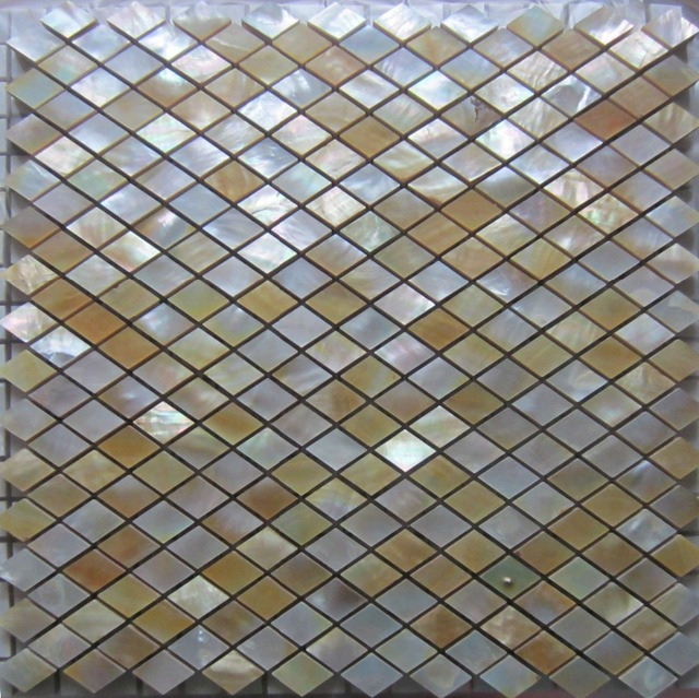 Yellow Lip Shell Mosaic Tile On Mesh With Ceramic Backing Backsplash Bathroom