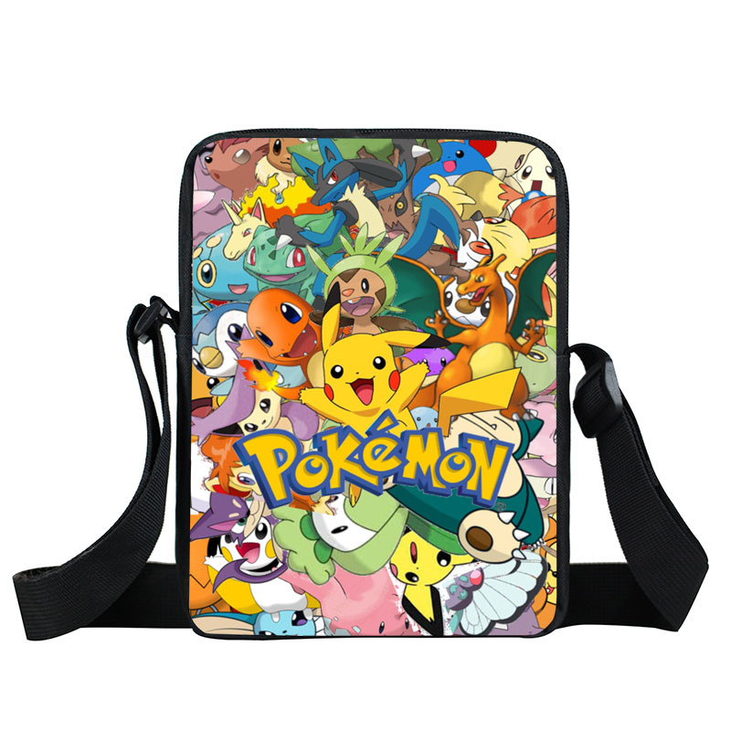 Anime Pokemon Mini Messenger Bag Cartoon Character Pikacun Daily Bag Boys Girls School Bags Children Bookbag Gift Bags For Kids anime tokyo ghoul boys girls cartoon pencil case bag school pouches children student pen bag kids purse wallet gift