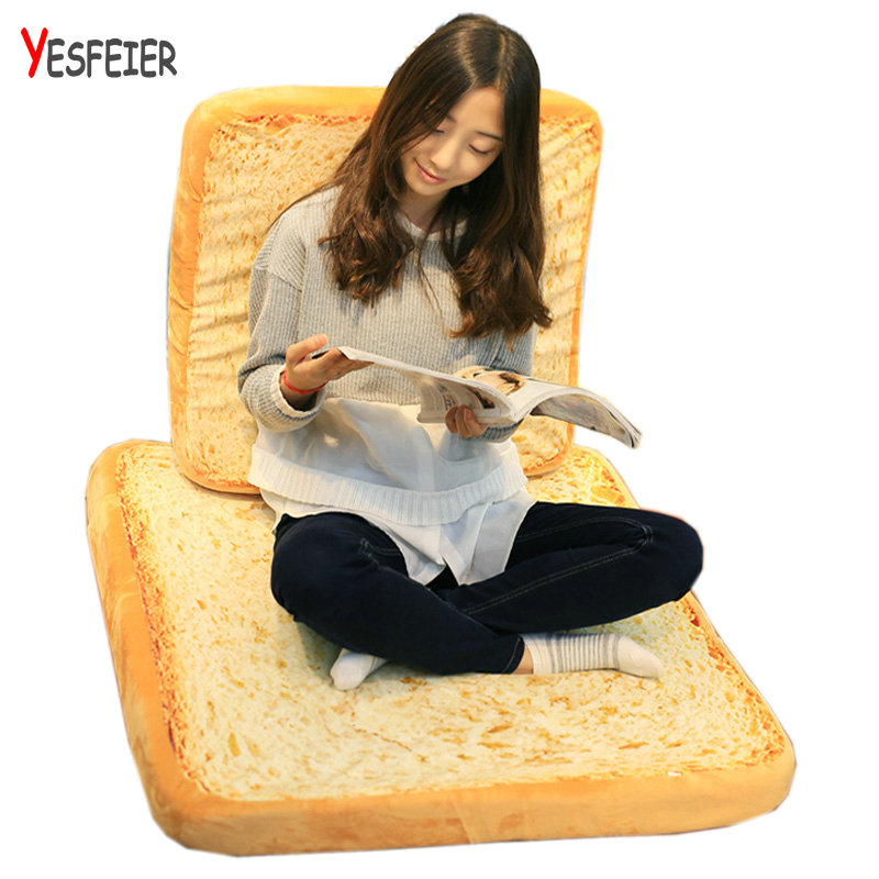 40-80cm Creative Plush Toast Bread Pillow Toy Stuffed Bread Cushion Funny Toast Bread Pillow for Pets Birthday Gift Decoration