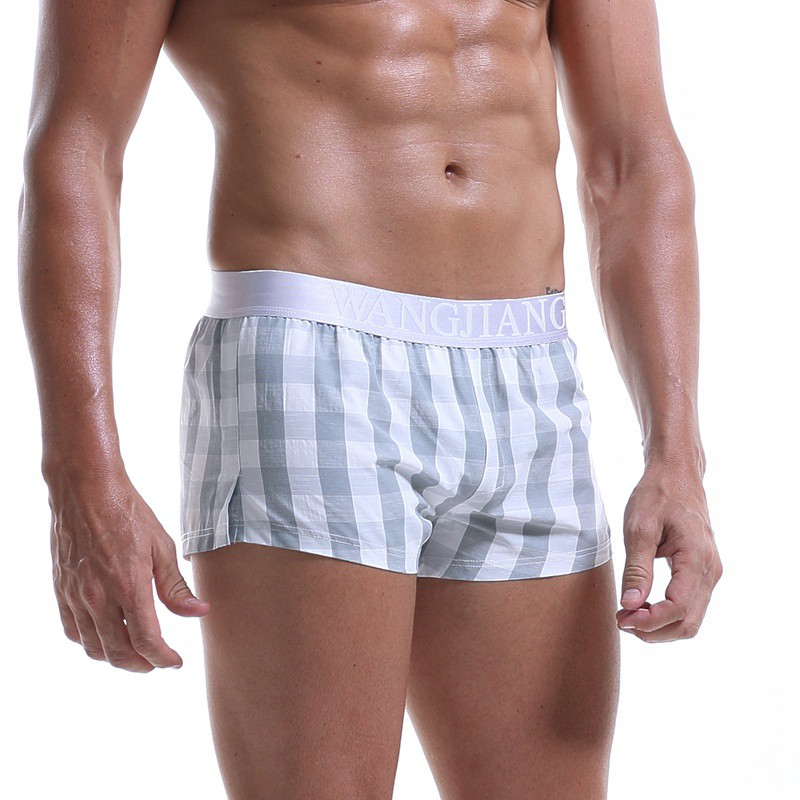Breathable Loose Paid Boxer Shorts Men Comfy Woven Cotton Homewear Sexy Pouch Male Underpants 2019 New High Quality Mens Panties in Boxers from Underwear Sleepwears