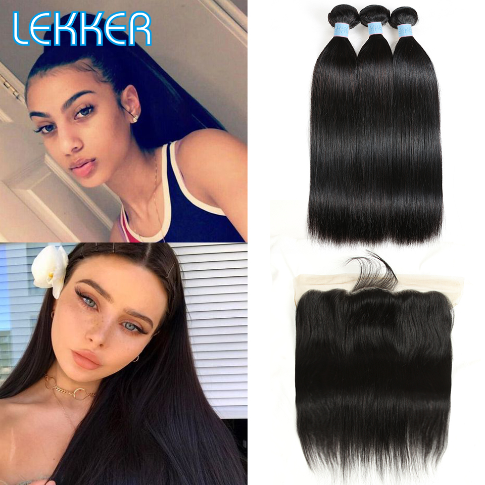 Lekker Straight Hair Bundles With Frontal 2 3 PCS Brazilian Human Hair Weave Bundles With Closure
