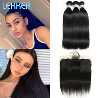 Lekker Straight Hair Bundles With Frontal 3 PCS Brazilian Human Hair Weave Bundles With Closure 13x4 Lace Frontal With Bundles