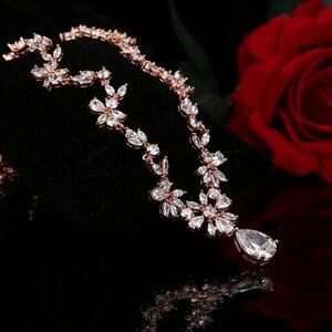 Image 5 - EMMAYA ensemble de bijoux avec pierres CZ AAA, magnifique ensemble de bijoux pour femmes, fleurs en cristal blanc, fête, mariage, fête