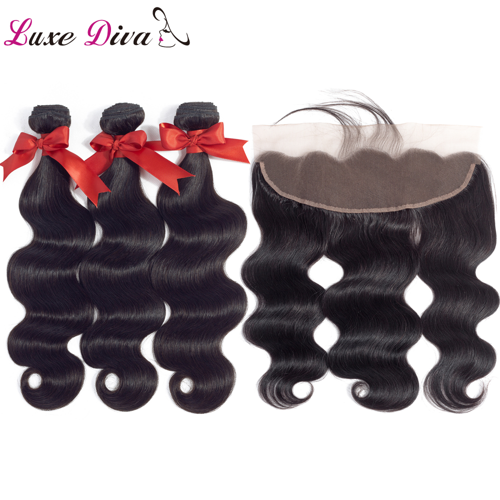 Provided Luxe Diva Indian Hair 13*4 Lace Frontal Closure With 2/3 Bundles Body Wave 100% Non Remy Human Hair Bundles With Lace Closure Online Discount Human Hair Weaves